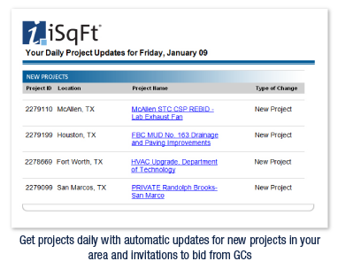 Get projects daily with automatic updates for new projects in your area and invitations to bid from GCs