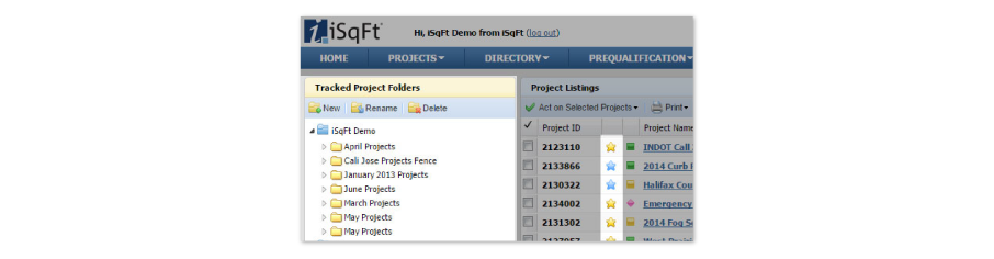 Track projects you're interested in and use custom folders to organize them.