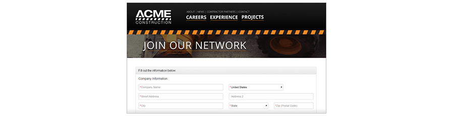 Register new vendors from your website